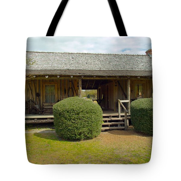 Circa 1900 Dogtrot Cabin Of Ephriam Brown From Lake Mills Florida Tote Bag by Allan  Hughes