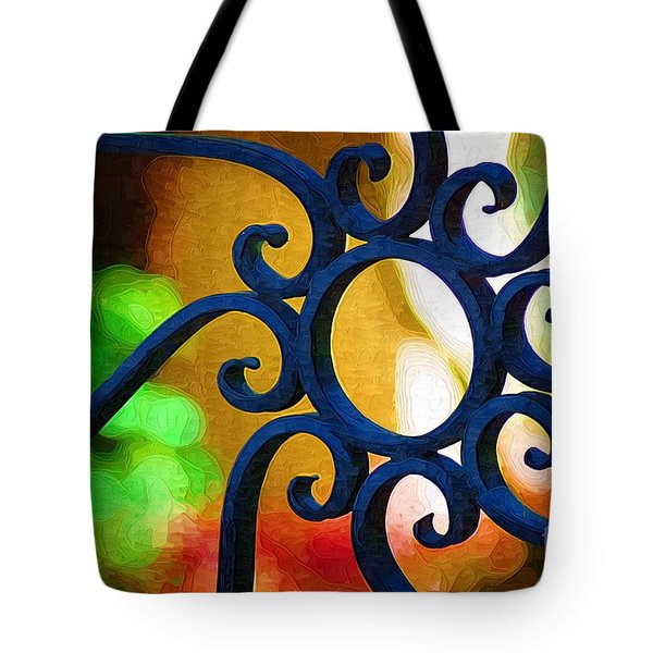 Tote Bag featuring the photograph Circle Design On Iron Gate by Donna Bentley