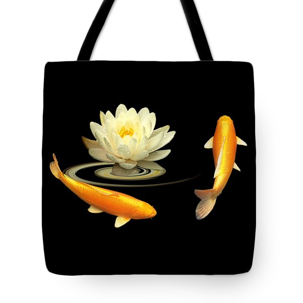 Circle Of Life - Koi Carp With Water Lily Tote Bag