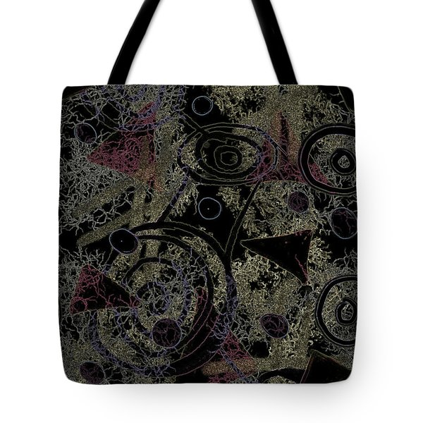 Tote Bag featuring the digital art Circles In Black by April Burton