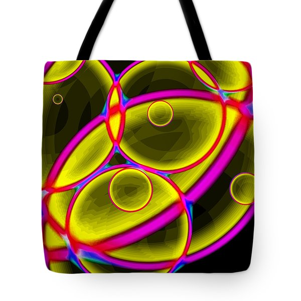 Tote Bag featuring the digital art Circles by Lola Connelly