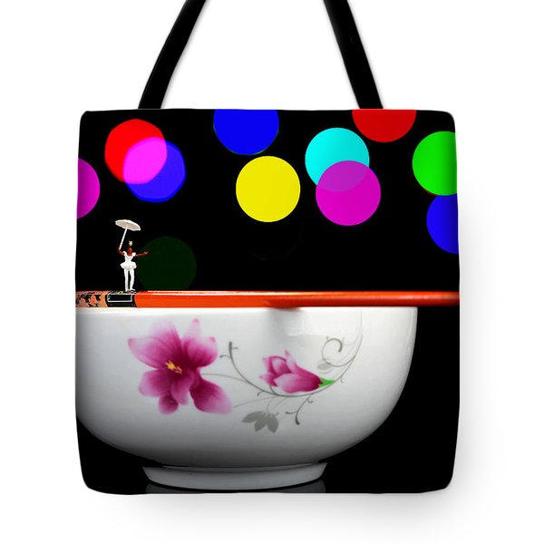 Circus Balance Game On Chopsticks Tote Bag by Paul Ge