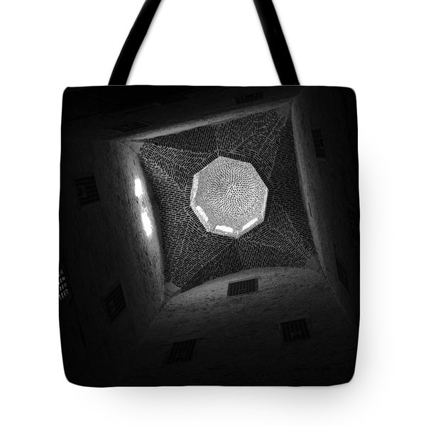 Tote Bag featuring the photograph Citadel Dome Of Alex Bw by Donna Corless