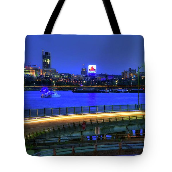 Tote Bag featuring the photograph Citgo Sign Across The Charles River - Boston by Joann Vitali