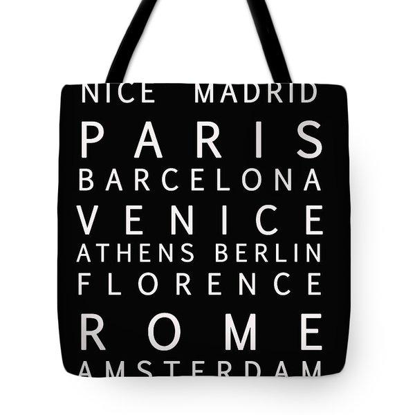 Cities Of Europe Tote Bag by Georgia Fowler
