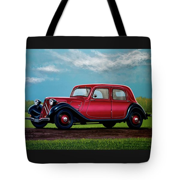 Citroen Traction Avant 1934 Painting Tote Bag