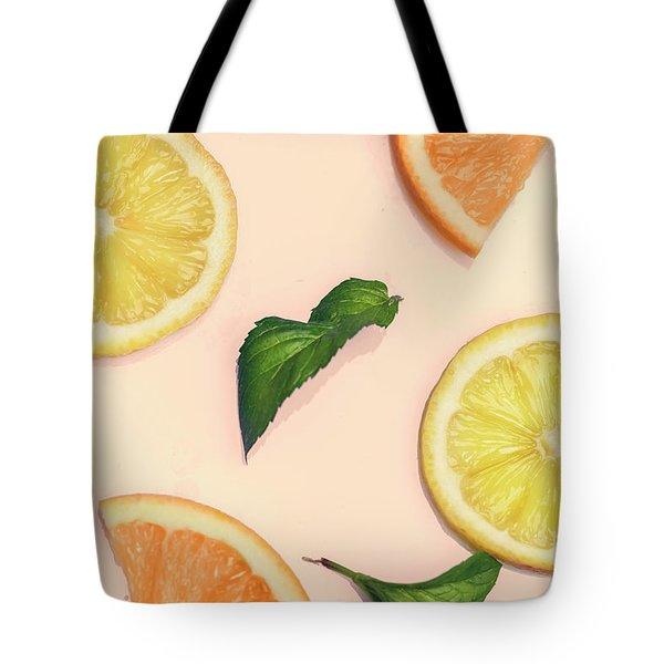 Citrus Pattern On Retro Pink Background Tote Bag