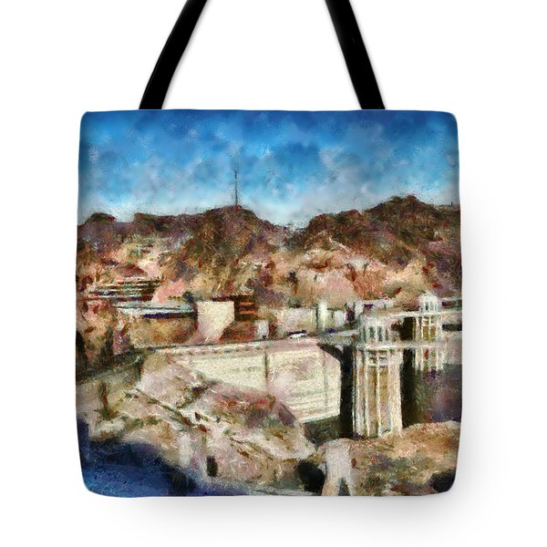 City - Nevada - Hoover Dam Tote Bag by Mike Savad