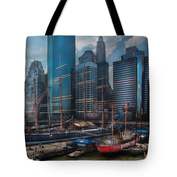 City - Ny - The New City Tote Bag by Mike Savad