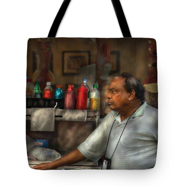 City - Ny - The Pretzel Vendor Tote Bag by Mike Savad