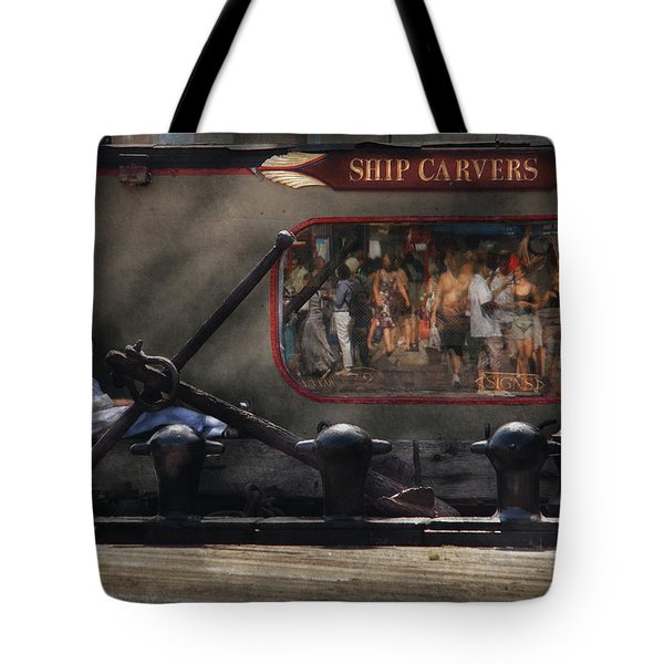 City - Ny South Street Seaport - Ship Carvers Tote Bag by Mike Savad