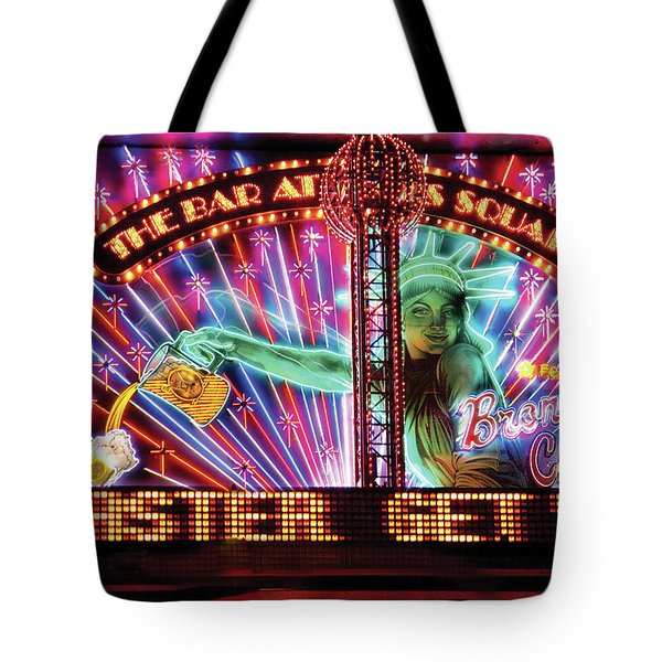 City - Vegas - Ny - The Bar At Times Square Tote Bag by Mike Savad