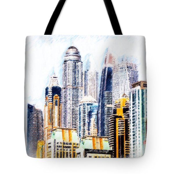 Tote Bag featuring the digital art City Abstract by Chris Armytage