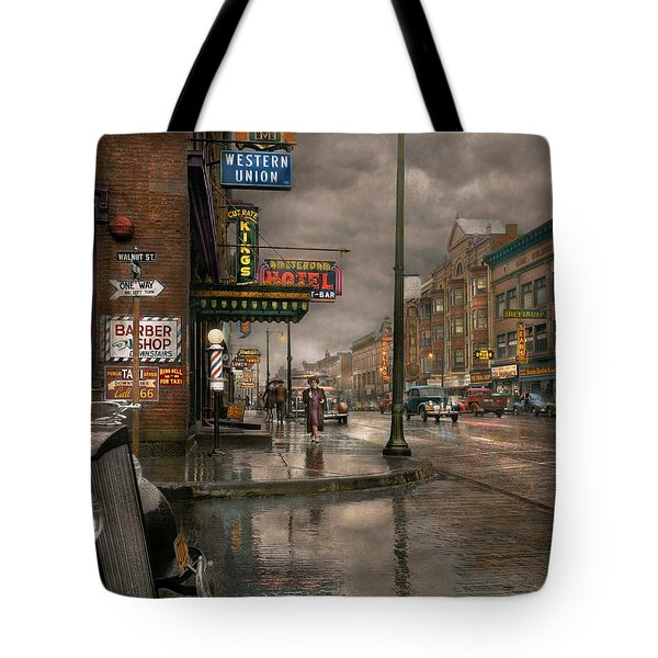 City - Amsterdam Ny -  Call 666 For Taxi 1941 Tote Bag