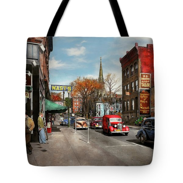 City - Amsterdam Ny - Downtown Amsterdam 1941 Tote Bag by Mike Savad