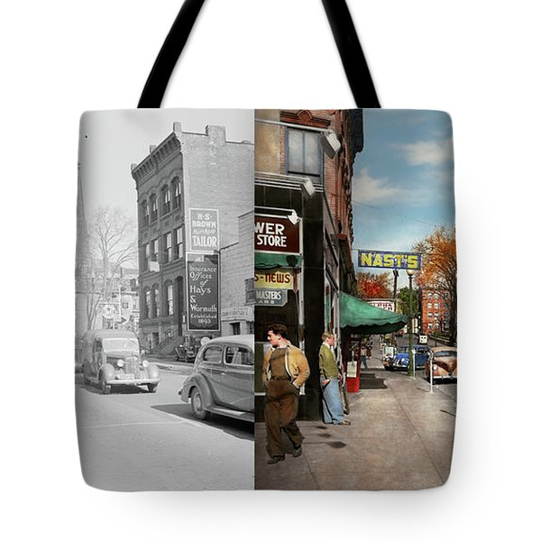 City - Amsterdam Ny - Downtown Amsterdam 1941- Side By Side Tote Bag by Mike Savad