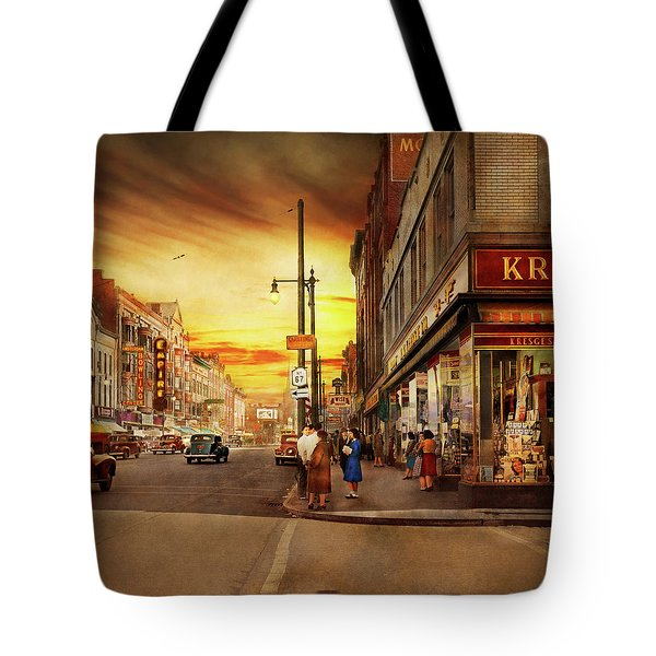 Tote Bag featuring the photograph City - Amsterdam Ny - The Lost City 1941 by Mike Savad