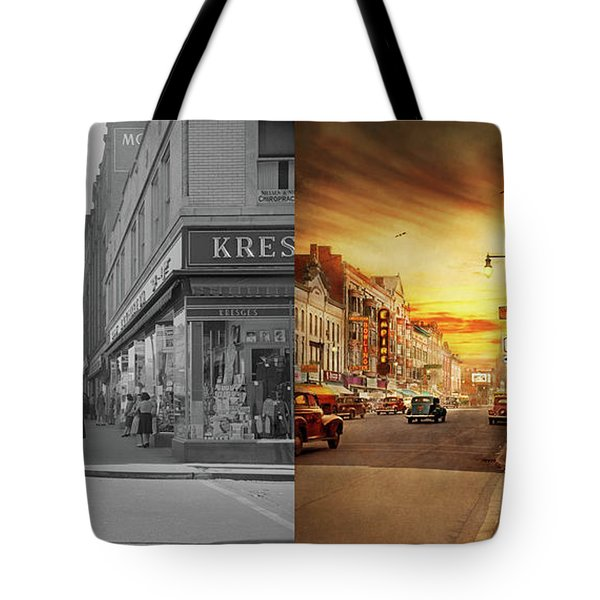 Tote Bag featuring the photograph City - Amsterdam Ny - The Lost City 1941 - Side By Side by Mike Savad