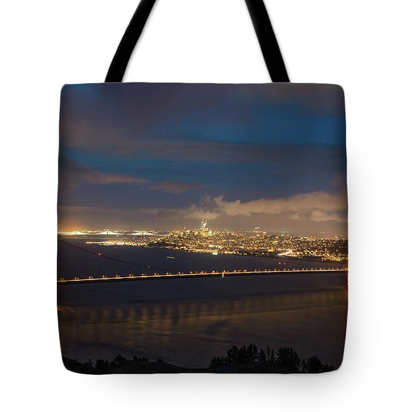 Tote Bag featuring the photograph City And The Bridge by Stephen Holst