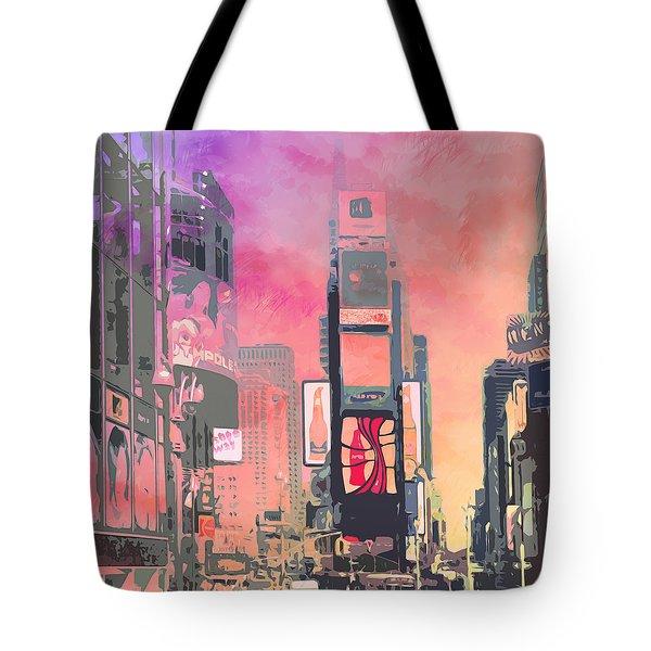 City-art Ny Times Square Tote Bag by Melanie Viola