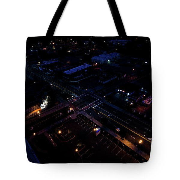City At Night From Above Tote Bag
