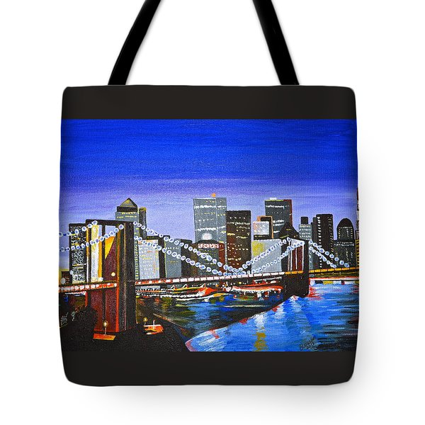 Tote Bag featuring the painting City At Twilight by Donna Blossom