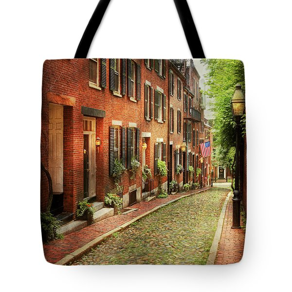 Tote Bag featuring the photograph City - Boston Ma - Acorn Street by Mike Savad