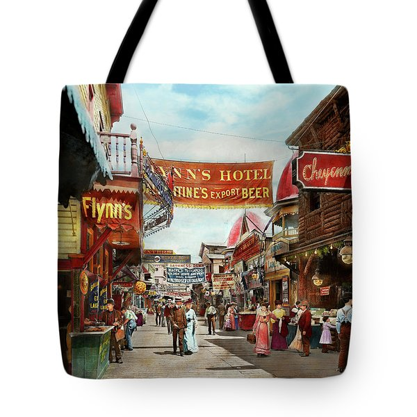 Tote Bag featuring the photograph City - Coney Island Ny - Bowery Beer 1903 by Mike Savad