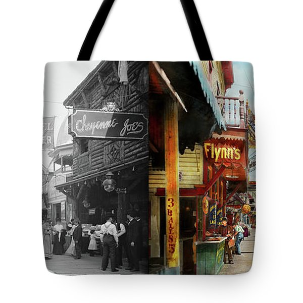 City - Coney Island Ny - Bowery Beer 1903 - Side By Side Tote Bag by Mike Savad