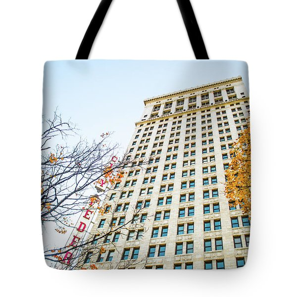 Tote Bag featuring the photograph City Federal Building In Autumn - Birmingham, Alabama by Shelby Young
