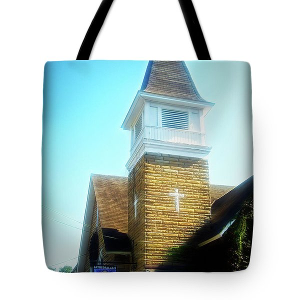 Tote Bag featuring the photograph City Flare Cathedral Cafe by Aimee L Maher Photography and Art Visit ALMGallerydotcom