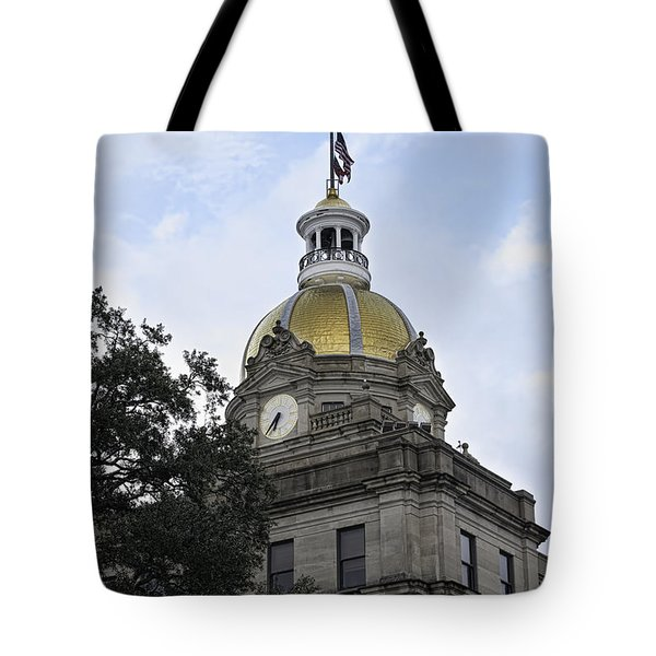 Tote Bag featuring the photograph City Hall Savannah by Judy Wolinsky