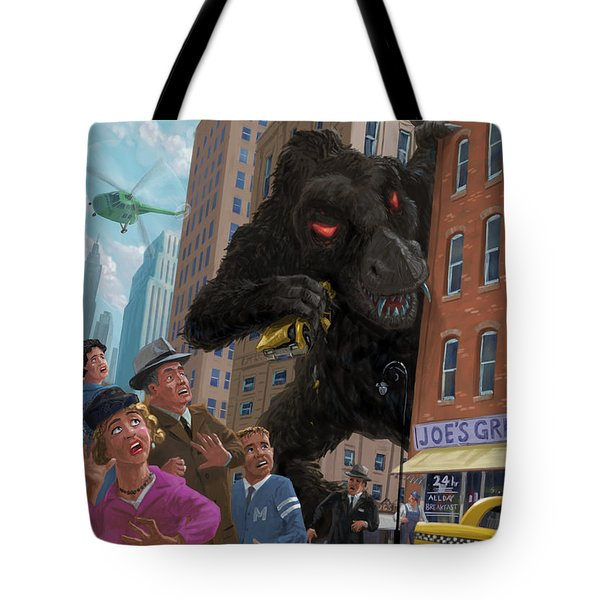 Tote Bag featuring the digital art City Invasion Furry Monster by Martin Davey
