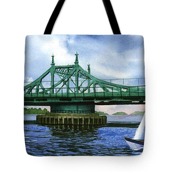 City Island Bridge Summer Tote Bag by Marguerite Chadwick-Juner