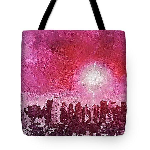 Tote Bag featuring the digital art City Landscape by PixBreak Art