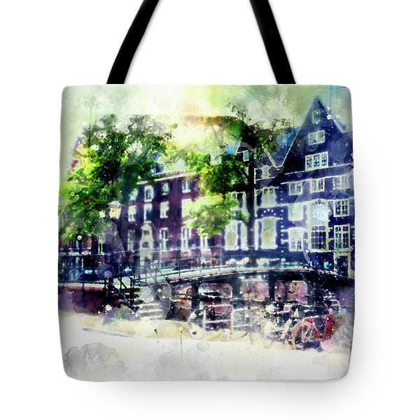 city life in watercolor style - Old Amsterdam  Tote Bag