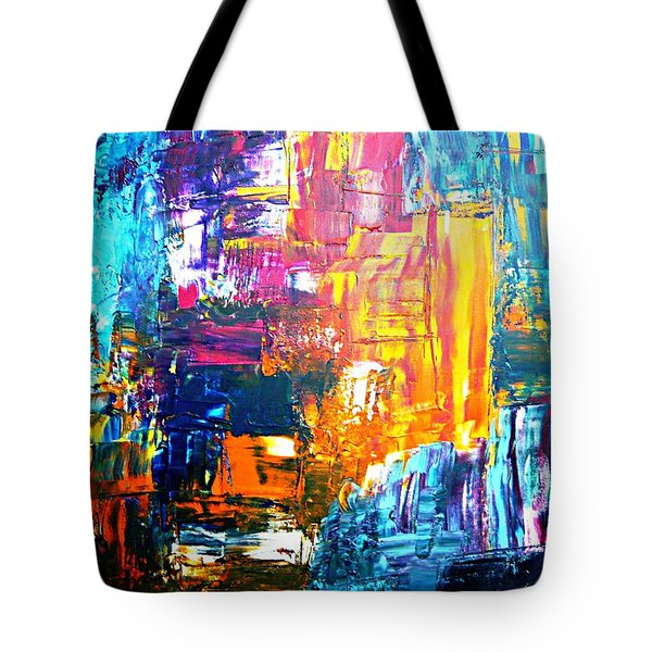 Tote Bag featuring the painting City Life by Piety Dsilva