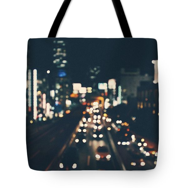 Tote Bag featuring the photograph City Lights by MGL Meiklejohn Graphics Licensing