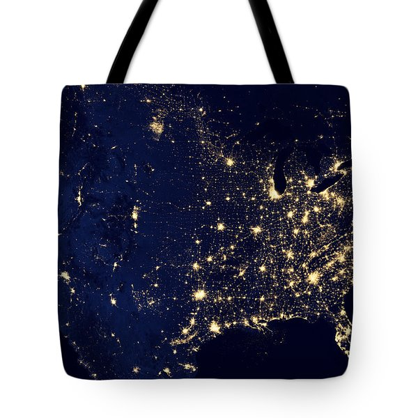 Tote Bag featuring the pyrography City Lights Of The United States by Artistic Panda