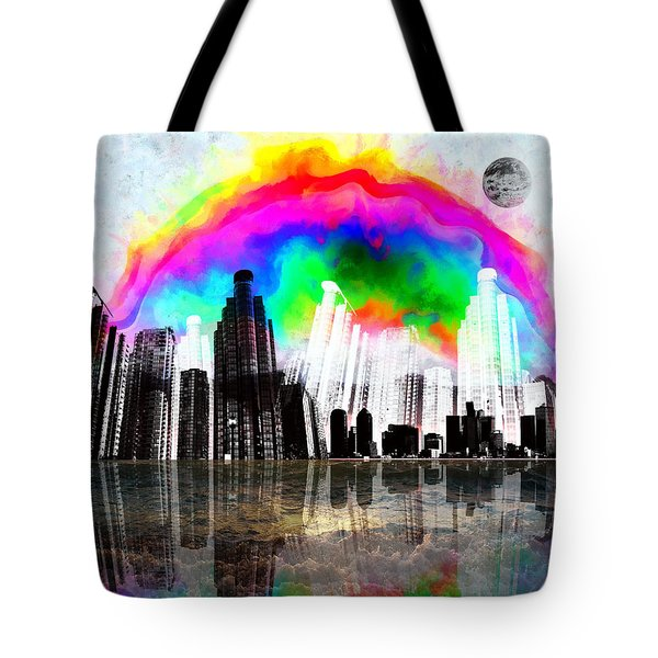 Tote Bag featuring the digital art City Limits Digital  by Sir Josef - Social Critic - ART