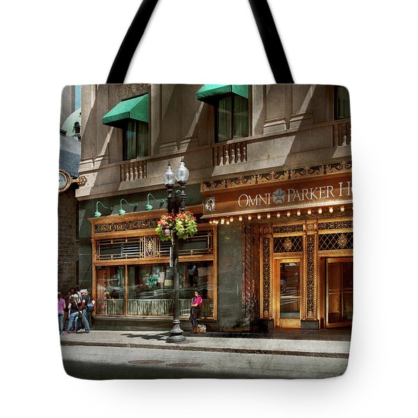 Tote Bag featuring the photograph City - Ma Boston - Meet Me At The Omni Parker Clock by Mike Savad