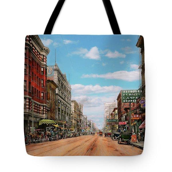City - Memphis Tn - Main Street Mall 1909 Tote Bag by Mike Savad