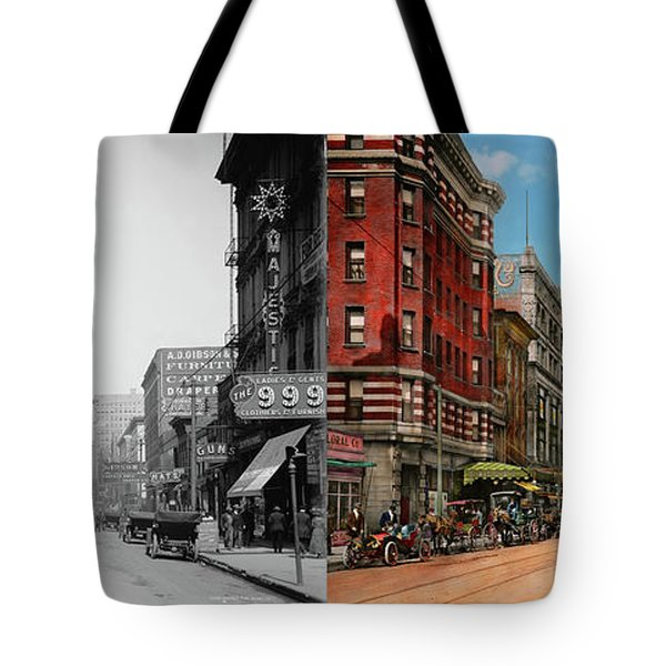 City - Memphis Tn - Main Street Mall 1909 - Side By Side Tote Bag by Mike Savad