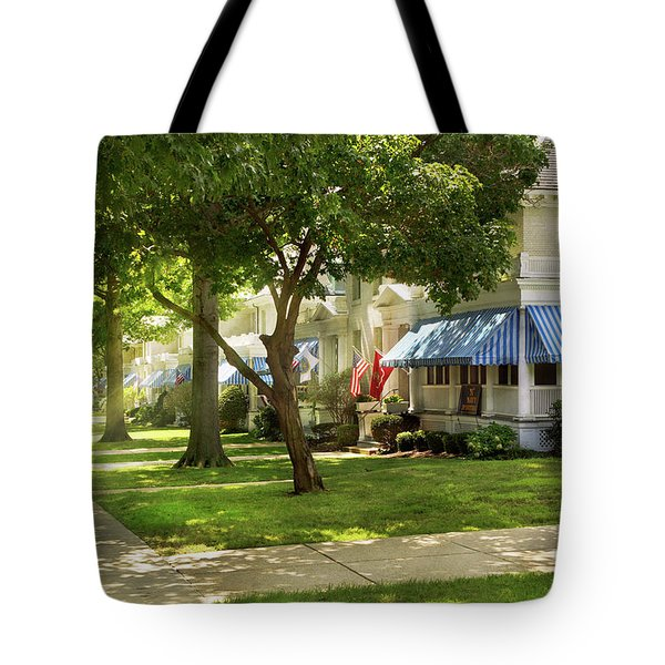 Tote Bag featuring the photograph City - Naval Academy - A Walk Down Captains Row by Mike Savad