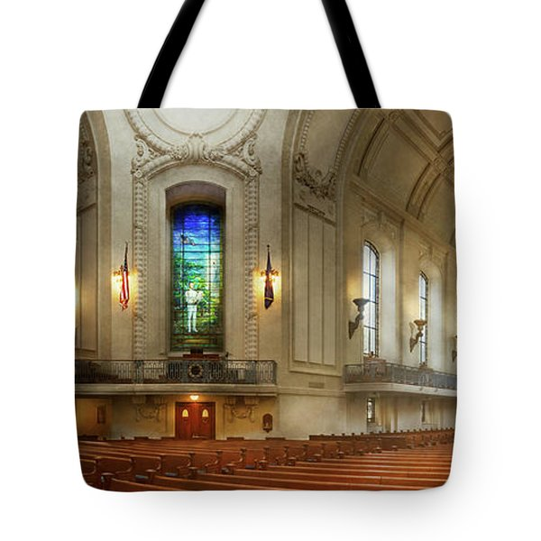 Tote Bag featuring the photograph City - Naval Academy - God Is My Leader by Mike Savad