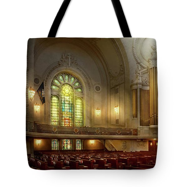 Tote Bag featuring the photograph City - Naval Academy - The Chapel by Mike Savad