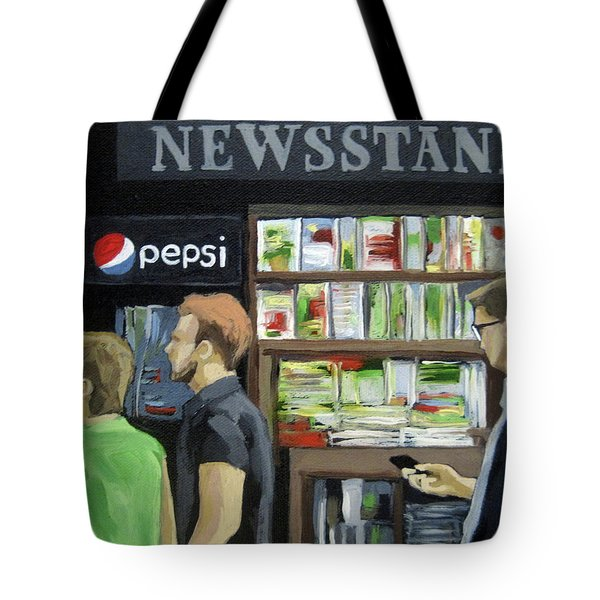 Tote Bag featuring the painting City Newsstand - People On The Street Painting by Linda Apple