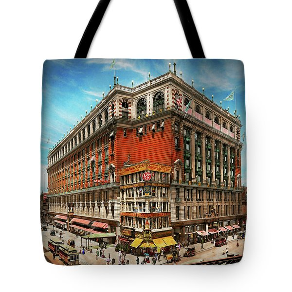 Tote Bag featuring the photograph City - Ny New York - The Nation's Largest Dept Store 1908 by Mike Savad