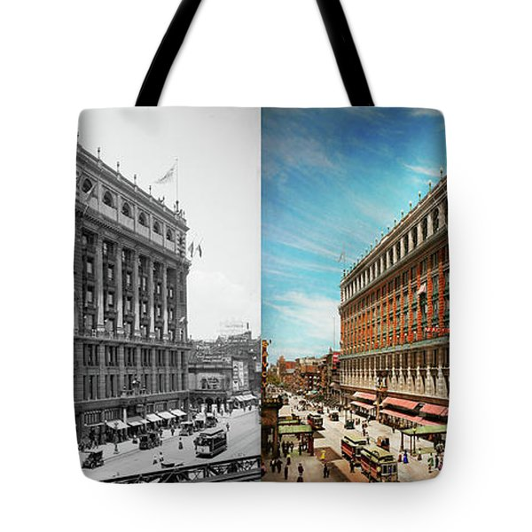 Tote Bag featuring the photograph City - Ny New York - The Nation's Largest Dept Store 1908 - Side by Mike Savad