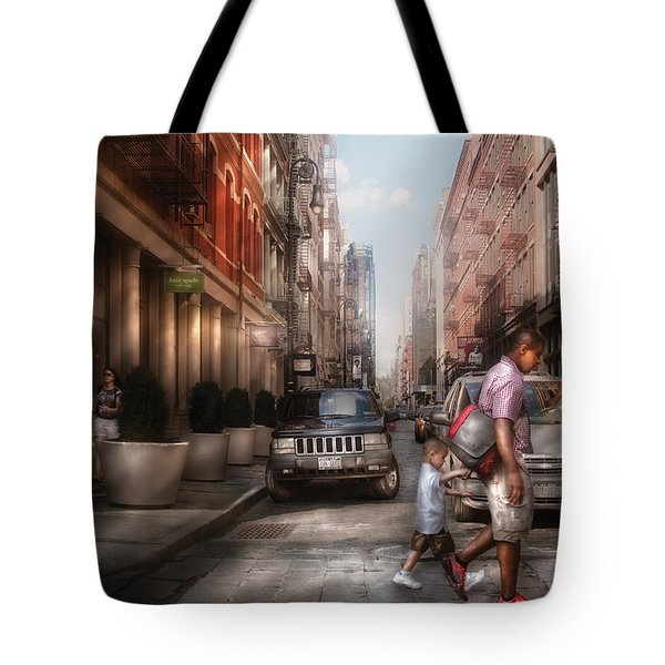 City - Ny - Walking Down Mercer Street Tote Bag by Mike Savad